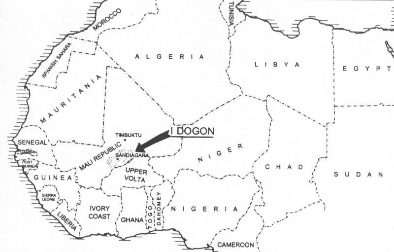 Cartina della regione dei Dogon